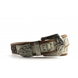 Cintura Indianina Coloniale con Inserto in Pitone 4 cm