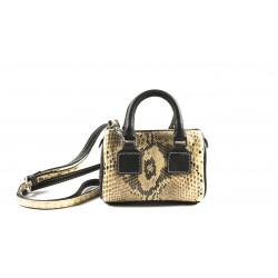 Python and Dark Brown  Leather Bauletto
