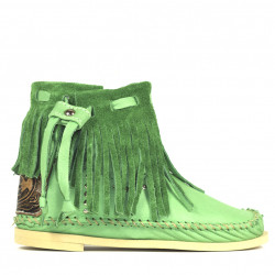 Mint Green Tronchetto Frange